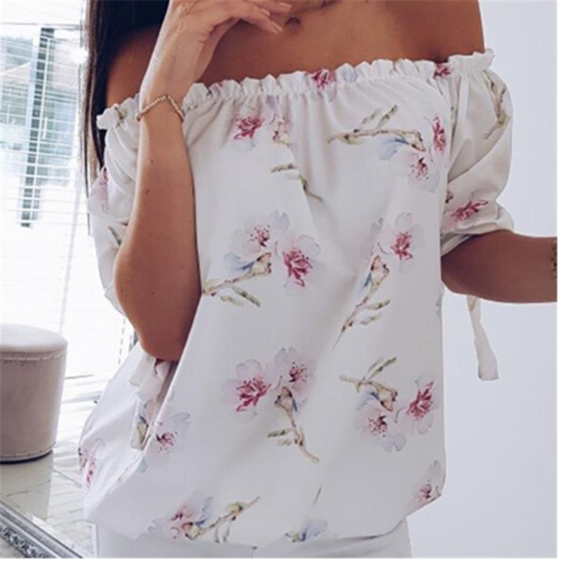 GOTCHA Off Shoulder Tops Long Sleeve Floral Print Casual Blouse