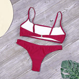Solid Bikini Set Women Sexy Brazilian Swimsuit Bikinis Summer Tube Top Swimwear Low Waist Bathing Suit Female Biquini