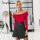 Simplee Autumn winter women knitted sweater Ruffled off shoulder female pullover sweater Long sleeve ladies jumper sweater 2019