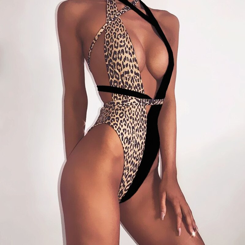 Peachtan Leopard print one piece swimsuit female Deep v-neck bikini 2019 Bandage bathing suit monokini swimwear women bathers
