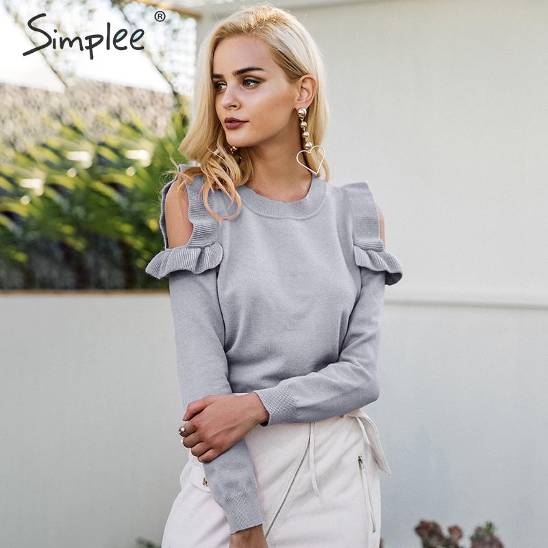 Simplee Elegant cold shoulder knitted sweater women jumper Casual long sleeve sweater female Autumn winter ladies pullover 2018
