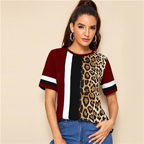 GOTCHA Block Cut-and-Sew Leopard Panel Top Short Sleeve O-Neck Casual T Shirt Women 2019 Summer Leisure Ladies Tshirt Tops