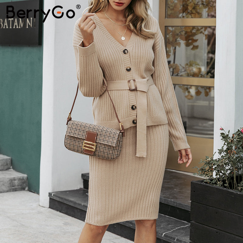 GOTCHA Two-piece women knitted dress set Elegant autumn winter sweater dress suits Long sleeve button sashes pure skirt suit