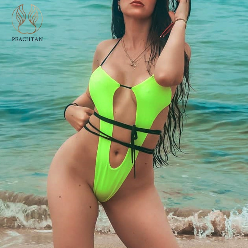 Peachtan High cut one piece swimsuit female Sexy neon bikini 2019 Bandage swimwear women Brazilian bathing suit Monokini thong