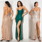 Silver Striped Sequined Maxi Dress V Neck Strappy Lace Up Backless Stretchy Sleeveless Bodycon Party Dress Green Burgundy