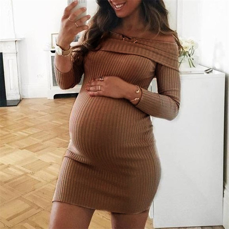 GOTCHA Casual Maternity Dresses Bodycon Off Shoulder