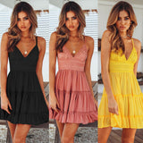 GOTCHA CHELSEY Summer Black Backless Layers Sweet Boho Short Mini Dress