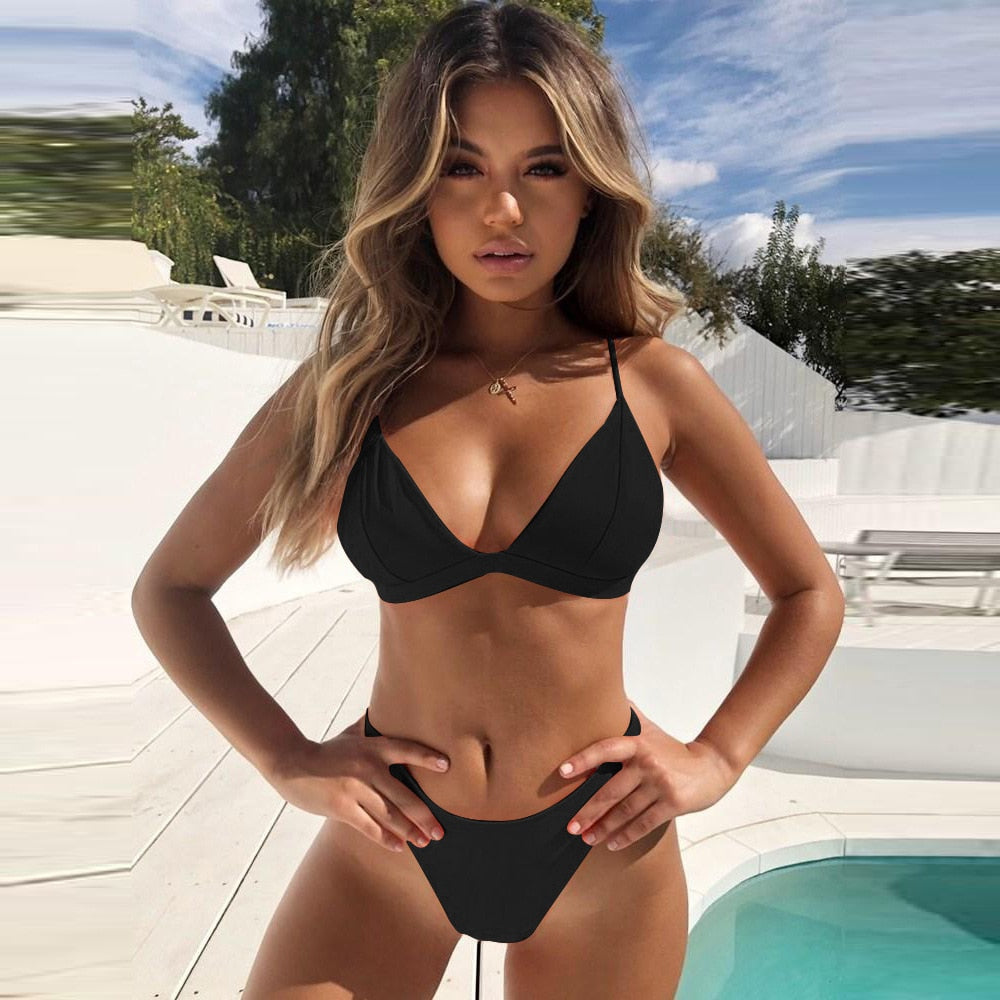 Thong Bikini Set 2019 New Women Swimwear Pure Color Push Up Padded Swimsuit Biquini Women Bathing Suit Summer Beachwear