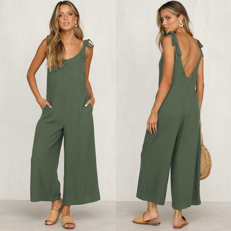 GOTCHA Jeanine Casual Loose Linen Cotton Sleeveless Backless Jumpsuit Overalls