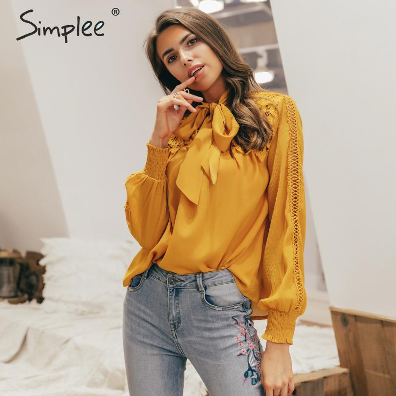 Simplee Casual embroidery long sleeve women blouse Summer spring hollow out neck tie blouse shirt Elegant loose female solid top