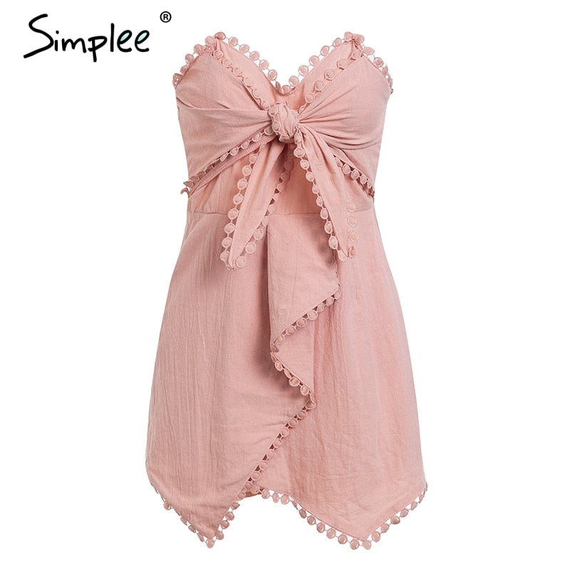 Simplee Sexy off shoulder playsuit women Elegant tassel bow embroidery short jumpsuit Summer cotton linen female overalls romper