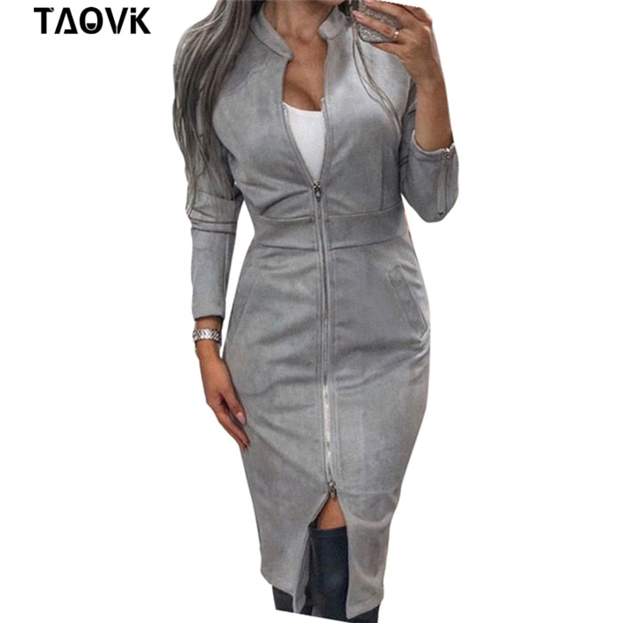 GOTCHA High Street Suede Dress Women Long Sleeve Bodycon Zippers Dress Vintage Stand Collar Office Lady Dresses