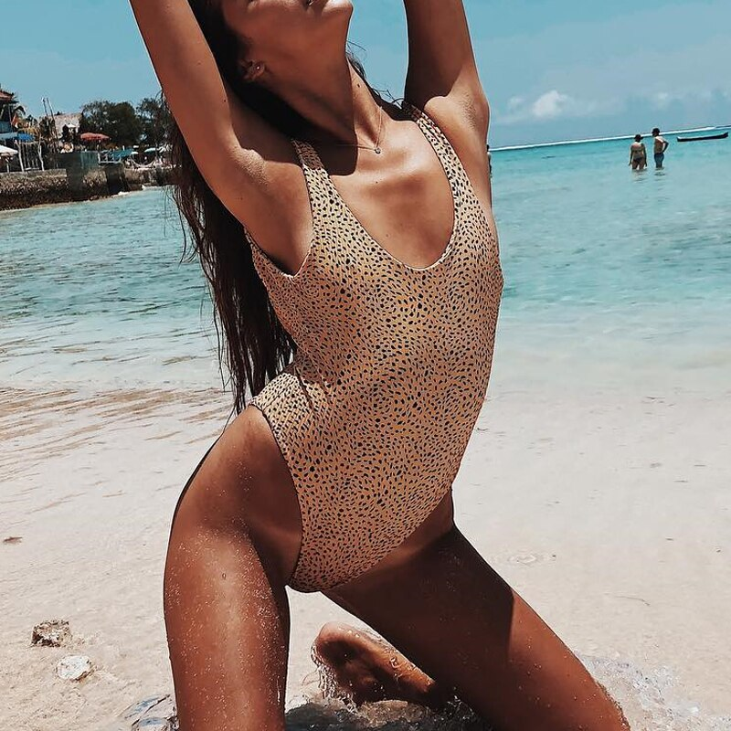 Peachtan High cut swimsuit female Push up bodysuits one-piece suit Backless bikini 2019 swimwear Summer bathing suit monokini