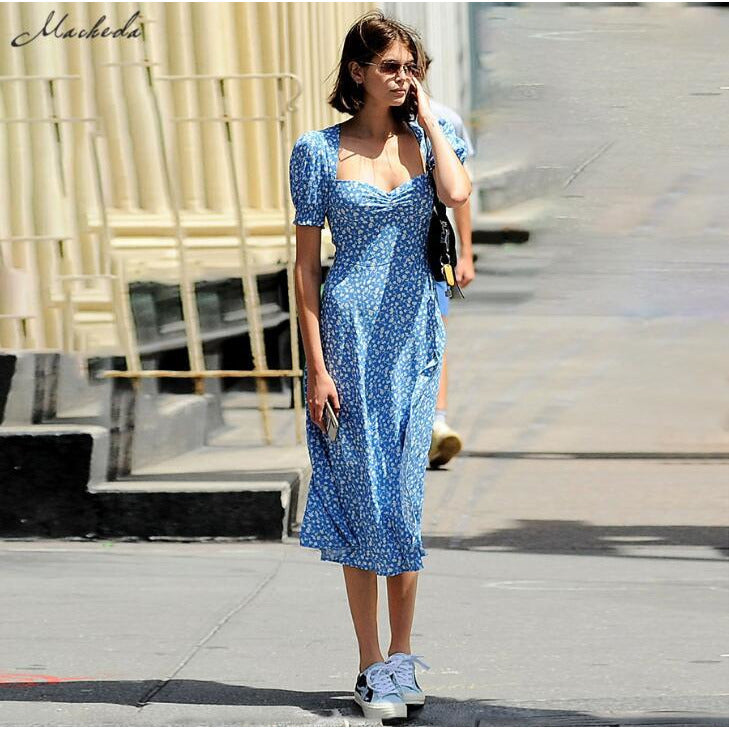 GOTCHA French Romance Retro Dresses Women Casual Floral Print Square Collar Dress