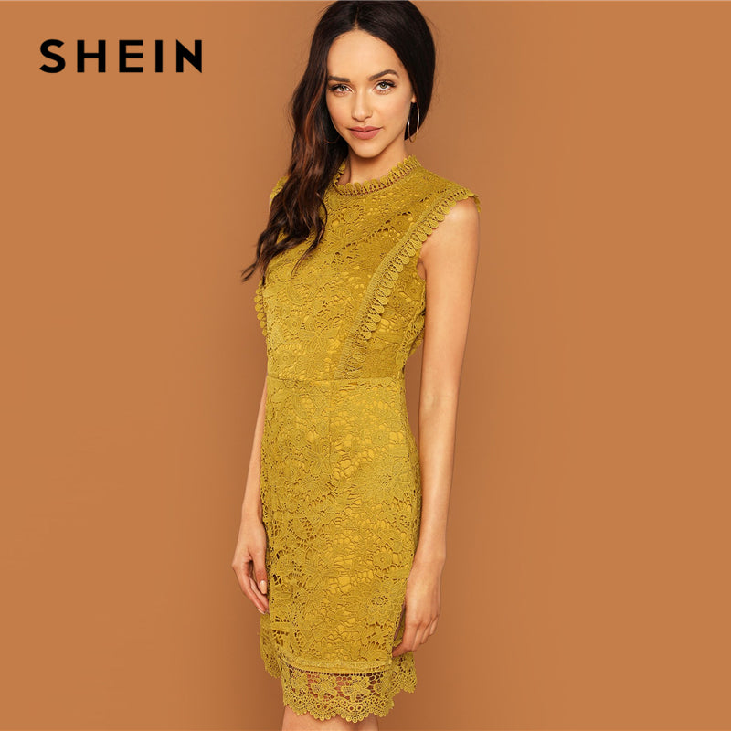 Ginger Contrast Lace Mock Neck Dress Casual Stand Collar Sleeveless Dresses Women Autumn Elegant OL Work Short Dress