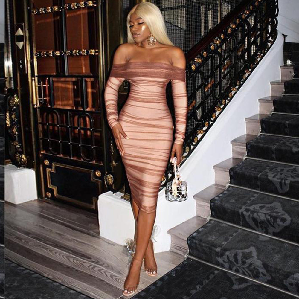 Party Dress Women 2019 Sexy Mesh Bodycon Dress Long Sleeve Off Shoulder Sheer Ruched Celebrity Club Dress