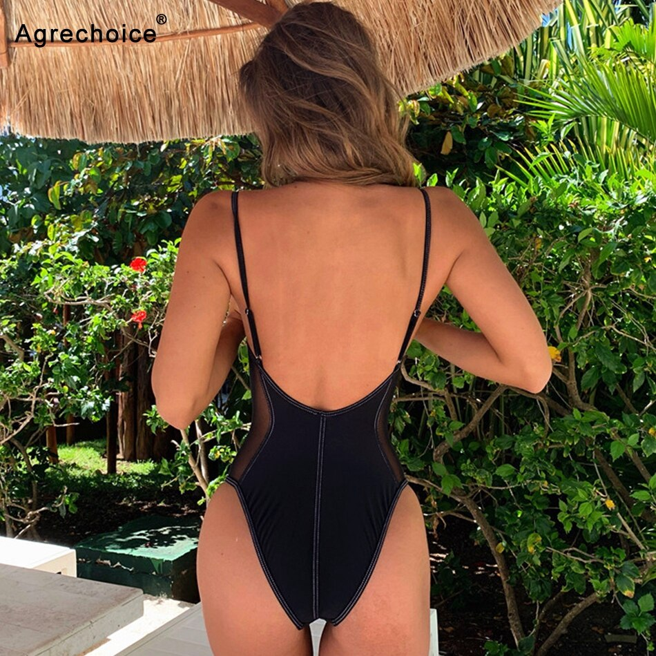 2019 Sexy Mesh One Piece Swimsuit Women Push Up Swimwear Bodysuit Backless Monokini Bathing Suit Summer Beach Wear Swimming Suit