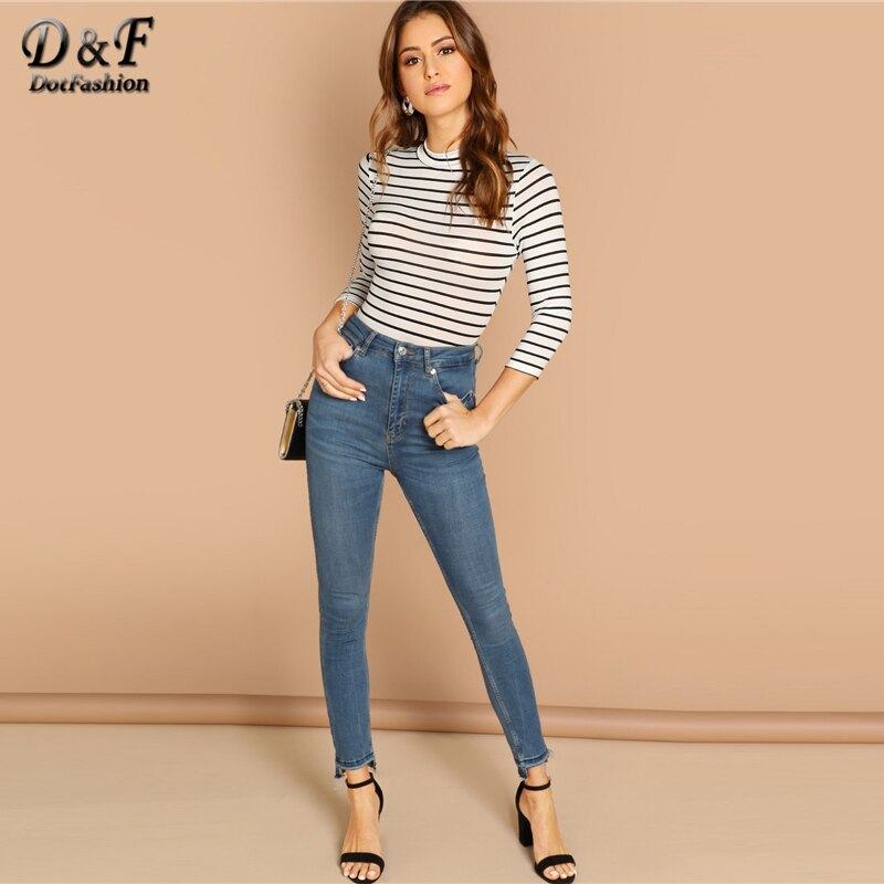 GOTCHA Slim Striped Bodysuit Women Spring Autumn Casual Tshirt Womens Clothing 3/4 Sleeve Skinny Bodysuits