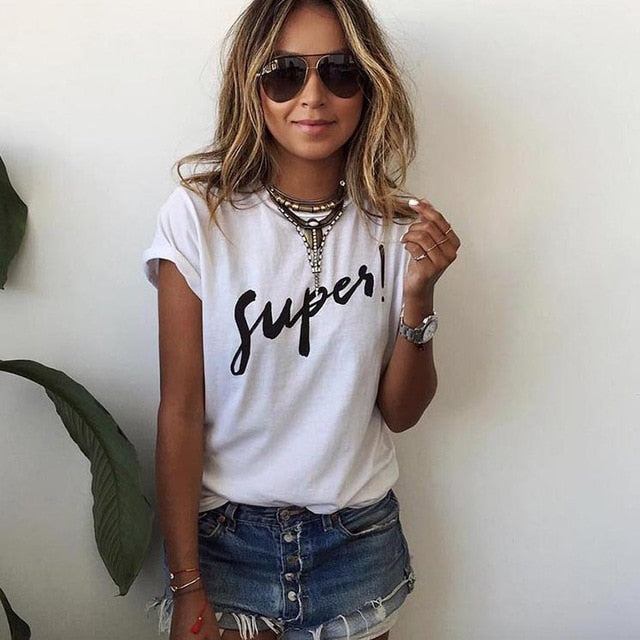GOTCHA Women T-shirt Printed Magic Letters Fashion O-Neck Short Sleeve Loose Tee Shirt Femme