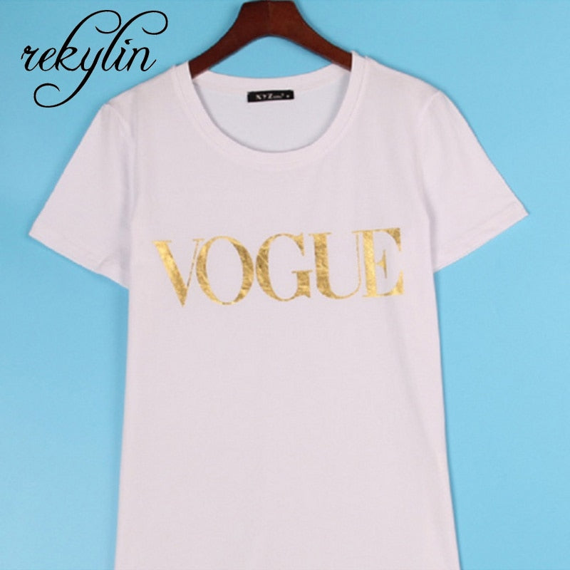 GOTCHA O-Neck Short Sleeve Summer Tops Tee Trend style Rose Print Vogue clothing