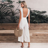 Cotton linen ruffled embroidery women jumpsuit Elegant hollow out sashes long jumpsuit romper Casual ladies overalls