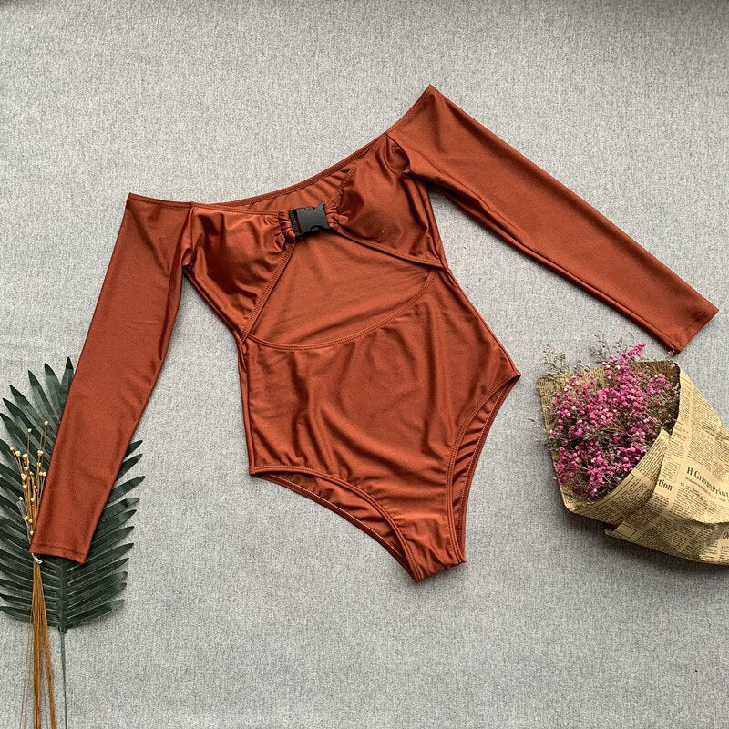 Peachtan Hollow out swimsuit one piece Buckle swimwear women bathing suit Long sleeve bikini 2019 new Summer beach wear bathers