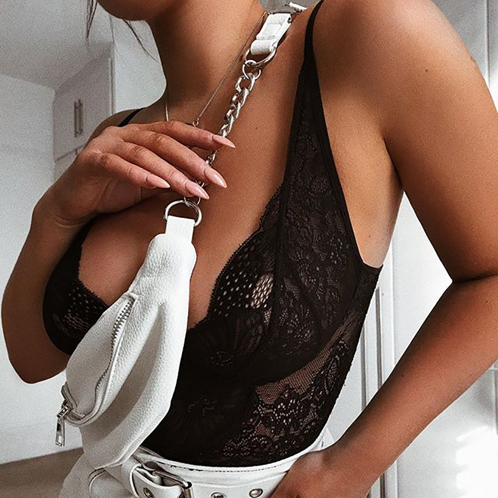 Cryptographic Mesh Sheer Lace Bodysuit Sexy V-Neck Jumpsuits for Women 2019 Teddies Catsuits Fashion Body Mujer Party Clubwear