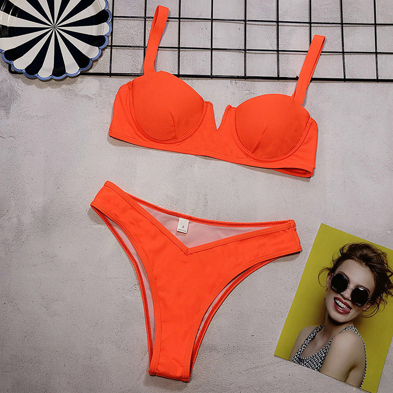 Underwire Swimsuit Push Up Bikini Set Hight Waist Ribbed Bathing Suit Women 2019 Summer Swimming Suit For Women Biquini