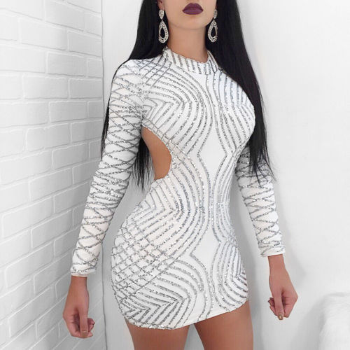 GOTCHA Full Sleeve Sequins Bodycon Mini Dress