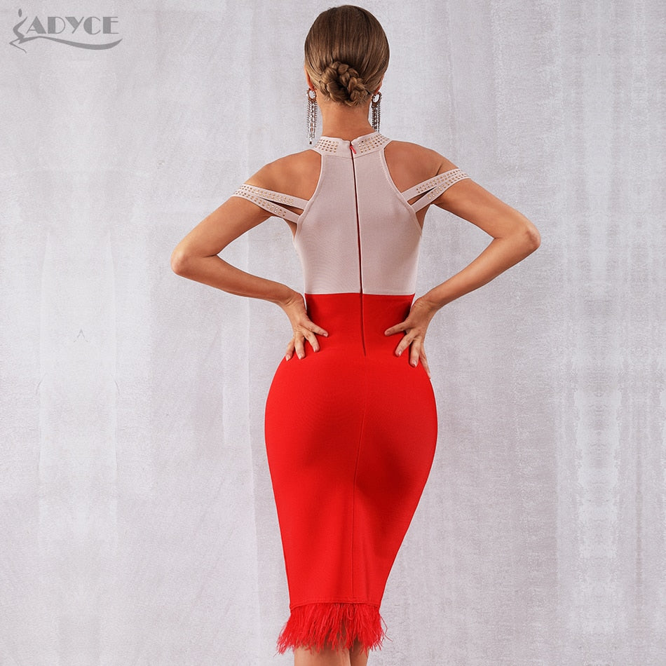 Adyce 2019 New Summer Bandage Dress Women Elegant Red Off Shoulder Sexy Feather Bodycon Club Beading Dress Celebrity Party Dress