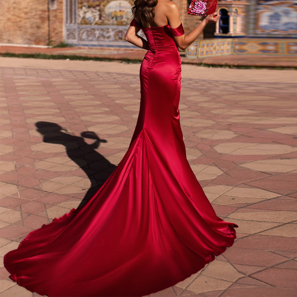 2019 Women Sexy Bra Off Shoulder Elegant High Split Dresses Female Backless  Solid Color Maxi Dress FT19566