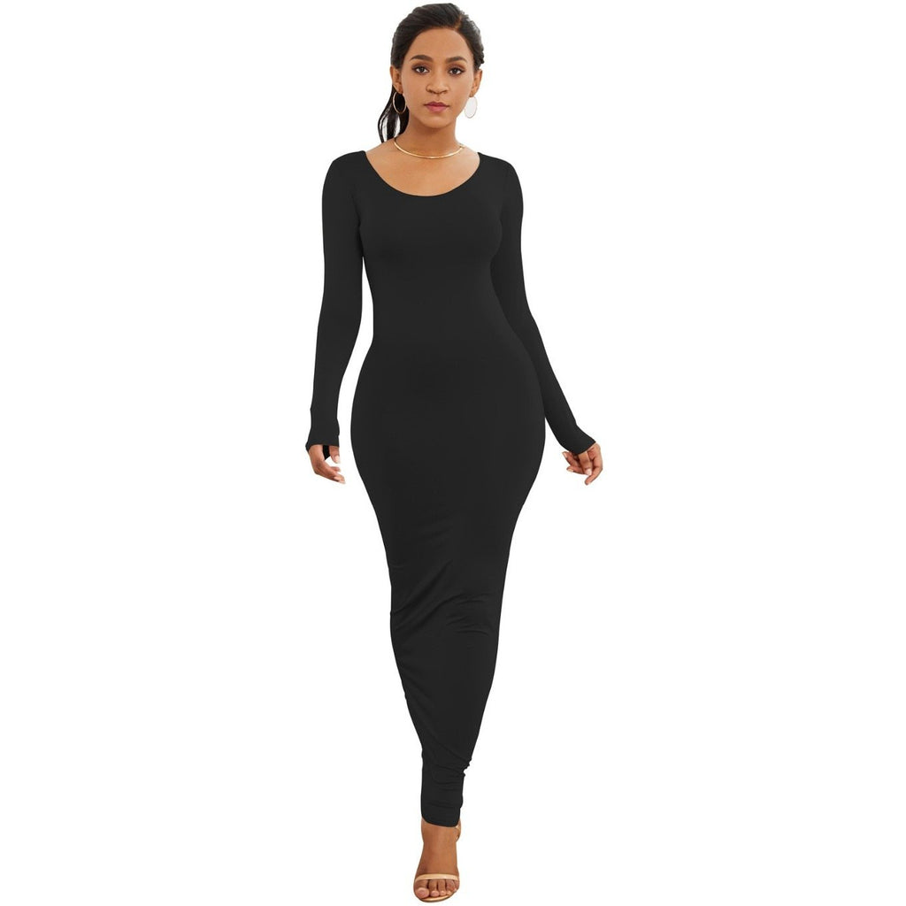 GOTCHA Long Sleeve O Neck Solid Slim Long Dress Casual Simple High Stretchy Bodycon Package Hip Maxi Dress
