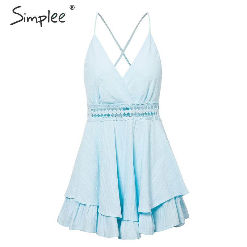 Simplee Sexy v-neck women playsuit Hollow out waist spaghetti strap ladies jumpsuit romper Summer beach wear overalls 2019