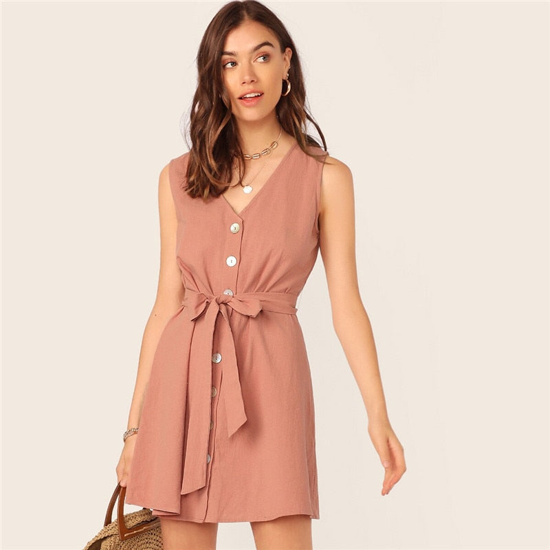 Single Breasted Belted Casual Dress Women Pink V Neck Sleeveless Summer Dress Straight Cotton Solid Tank Mini Dresses