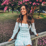 2019 New Women Fashion Sexy Dress Slash Neck Plaid Light Blue Long Sleeve Dress Women Vestidos Casual Sexy Dress