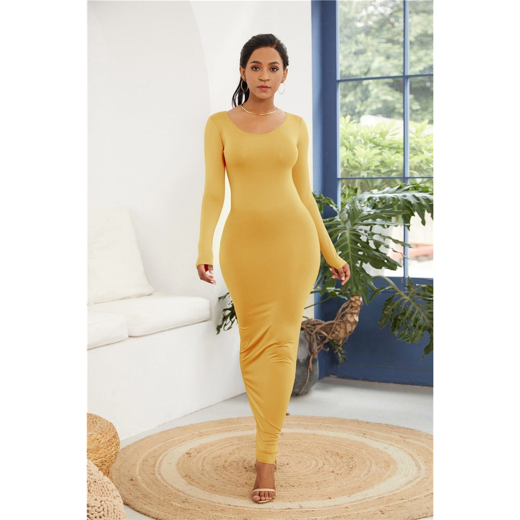 GOTCHA MEDIUM  Long Sleeve O Neck Solid Slim Long Dress Casual Simple High Stretchy Bodycon Package Hip Maxi Dress
