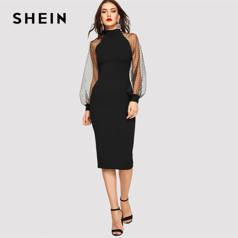 GOTCHA Black or Blue Pencil Bodycon Dress With Jacquard Contrast Mesh Lantern Sleeve Spring Women Long Sleeve Solid Dresses