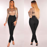 GOTCHA Sexy Nude Black Sheer Mesh Long Sleeve Bodysuits Woman New 2019 Body Top Clothes for Female Transparent Striped Bodysuit