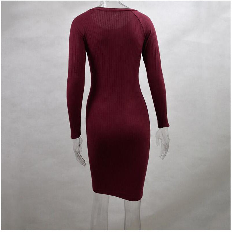 GOTCHA Bodycon Sheath Dress Sexy Red Knitted Cotton Long Sleeve 2019 Pure Casual Black Midi Dress