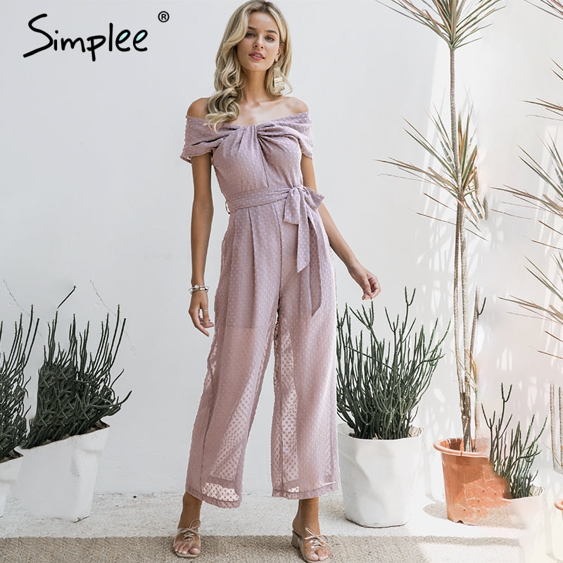 Simplee Elegant off shoulder women jumpsuit Solid sashes female jumpsuit romper Twist neck office ladies casual long overalls