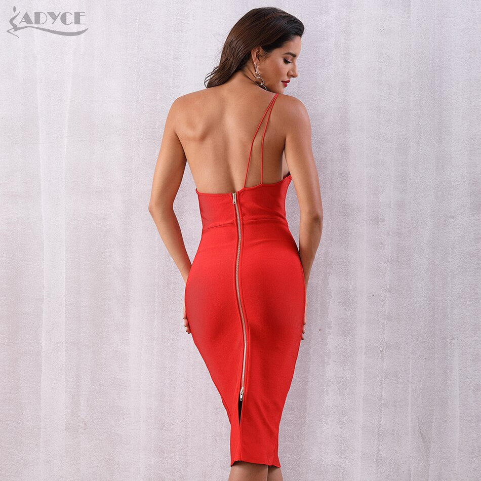 ADYCE One Shoulder Women Bandage Dress New Arrival 2019 Summer Celebrity Party Dress Vestidos Sexy Red Backless Sleeveless Dress