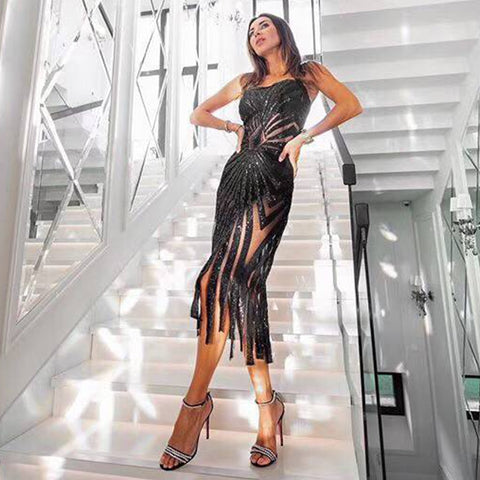 Adyce 2019 New Summer Sequin Women Celebrity Evening Party Dress Vestidos Sexy Sleeveless Black Tassel Fringe Midi Club Dresses