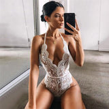 GOTCHA Lace Crochet Halter Backless Lace Up Women's Bodysuit Sleeveless V-neck Sexy Womens Rompers Summer Wave Cut Women Beach Clothes