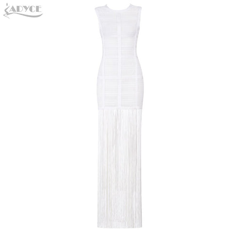 Adyce 2019 New Summer Women Bandage Dress Vestidos Sexy Maxi Celebrity Evening Party Dress White Tank Tassels Fringe Club Dress