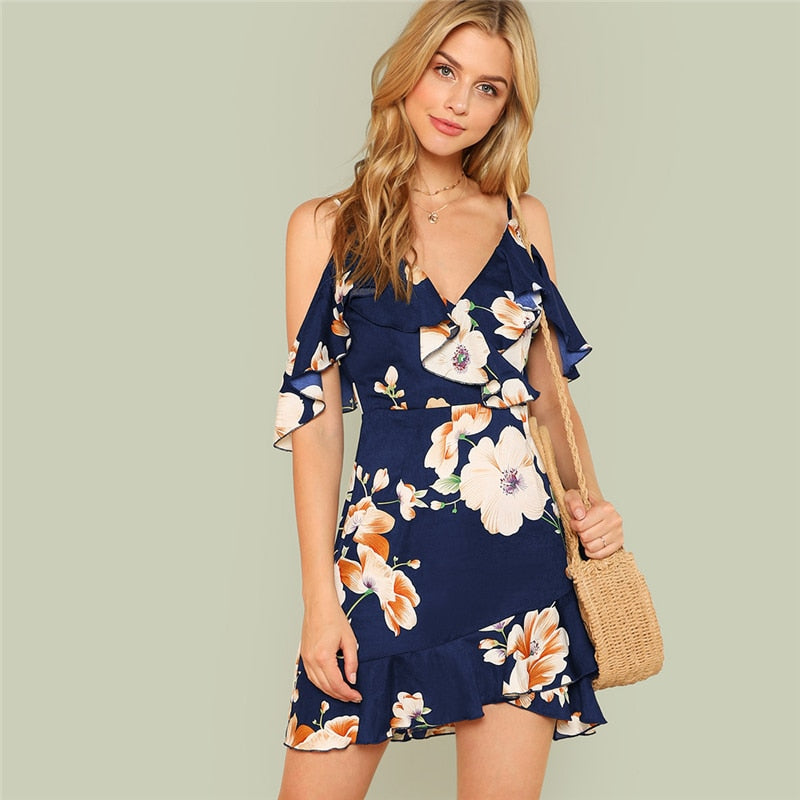 Multicolor Vacation Backless Boho Bohemian Beach Flounce Cold Shoulder Floral Print Dress Summer Women Casual Dress
