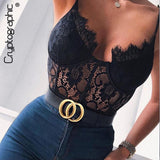 Cryptographic Fashion Mesh Sheer Lace Bodysuit 2019 Summer Hollow Out Straps Bralette Bodysuits Teddy Streetwear Women Tops Chic