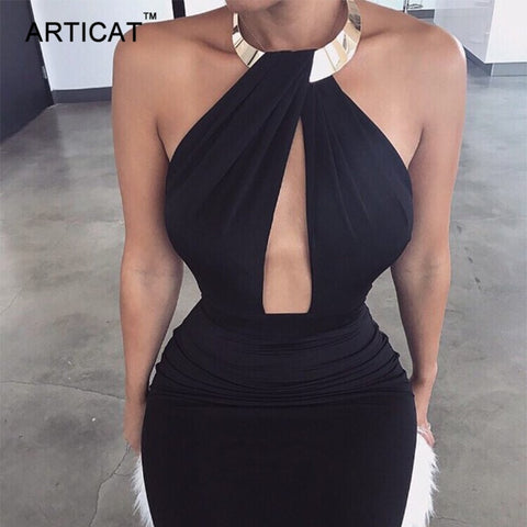 GOTCHA CHARLI  Off Shoulder Choker Long Pencil Dress