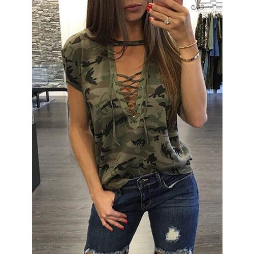 GOTCHA Short Sleeve Camouflage Loose Casual Ladies T Shirt Tops Summer Bandage Hollow Out T-Shirt Tops Gray Army Green