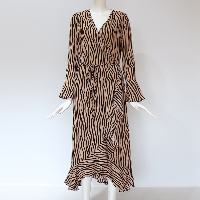 GOTCHA Zebra Print Beach Bohemian Maxi Dress Casual Long Sleeve V Neck Ruffles Elegant Party Dress Vestidos