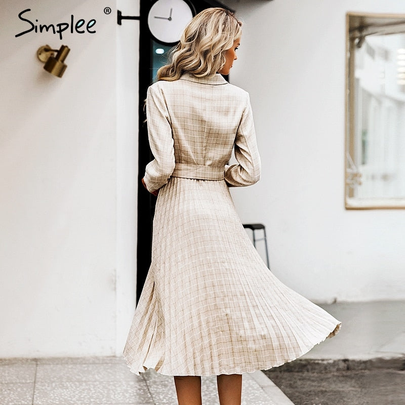 GOTCHA pleated belt plaid dress women Elegant office ladies blazer dresses Long sleeve female autumn midi party dress